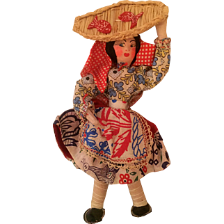 Portugal vintage fish seller woman doll:  1950s: hand painted face: composition and wire: basket with fish