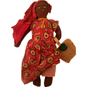 Vintage dolls: Jamaican ladies: Grandma with a sisal bag: Beaded earrings and nose ring: excellent condition: 1940s-50s