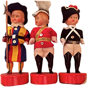 Three vintage Papal Vatican City Swiss Guard dolls: Labeled Roma: 50s-60s: Celluloid - Red Tag Sale Item