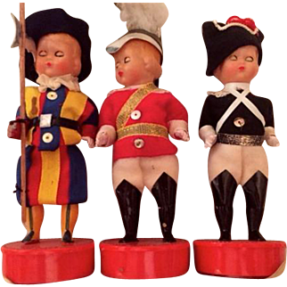 Three vintage Papal Vatican City Swiss Guard dolls: Labeled Roma: 50s-60s: Celluloid