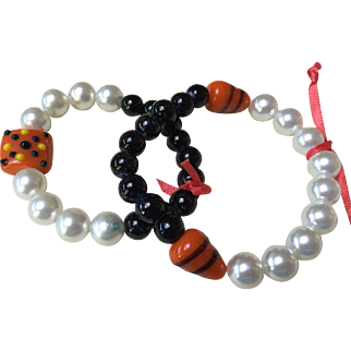 Mother and Daughter Halloween Bracelets:  Blackstone: Pearls: Orange glass lampwork beads: small 3 inches: larger 4 inches: