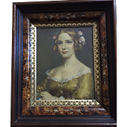 Vintage: Eastlake frame (1880) Jenny Lind (1850) print: Cecil Golding: excellent condition: label on back: