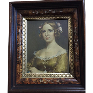Reduces:  Fabulous Eastlake frame (1880) Jenny Lind (1850) print: Cecil Golding: excellent condition: label on back: