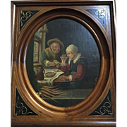 Rare Reproduction Franz Van Mieris The Repast of the Two Old People: Oil canvas: Wooden Rectangular: Oval center copied by G Cappelli