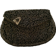 Vintage black seeded bead evening clutch: Rhinestone clip on the flap: Small leather coin purse:1930-40s