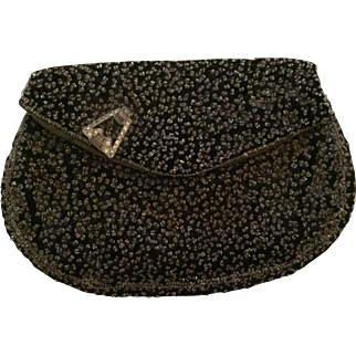 January Sale:  Vintage black seeded bead evening clutch: Rhinestone clip on the flap: Small leather coin purse:1930-40s