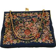 Vintage Petti Point aqua evening purse: Possibly French: Navy silk lining: goldtone snake chain: gold tone frame and clasp: 71/5 x 5 1/2 inches: - Red Tag Sale Item