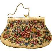 Vintage: Evening bag: Cream with roses and flowers:  Petite point: mother of pearl decoration on opening: goldtone closure and handle: 40s-50s: possibly French