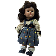 Vintage Ginny Doll: SLW: painted eyelashes: red mouth: sleep eyes: Pat. pend: blue eye pupil: 1954: original outfit: tag