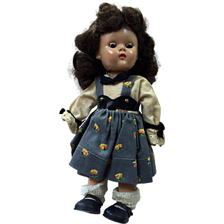 January Sale:  Vintage Ginny Doll: SLW: painted eyelashes: red mouth: sleep eyes: Pat. pend: blue eye pupil: 1954: original outfit: tag