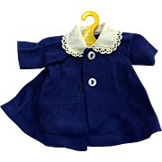 Vintage Akexander-kins doll outfit: 50s: Navy blue spring flair coat: sweet embroidered collar: two mother of pearl buttons: tag Madame Alexander