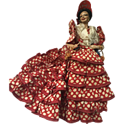 Flamenco Spainish dancer doll: 50s: Marin Chiclana doll: Red polka-dot ruffles: Castanets