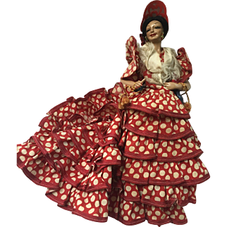 January Sale: Vintage Flamenco dancer doll: 50s: Marin Chiclana doll: Red polka-dot ruffles: Castanets