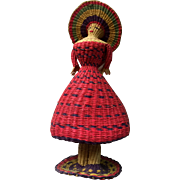 Vintage: Peruvian Straw doll: 50s: rattle inside: colorful and pristine