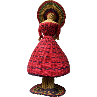 January Sale: Vintage Peruvian Straw doll: 50s: rattle inside: colorful and pristine