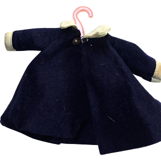 Vintage Ginny doll winter coat: Navy felt: white wool collar and cuffs: 50s