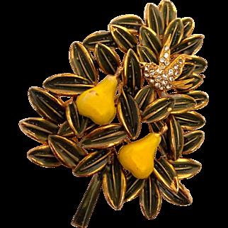 Cardoro Christmas pin: green enameled leaves edged in gold: two yellow pears: partridge rhinestones: 60s: hallmarked Cardodo