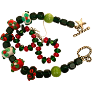 Christmas duo: Artisan bracelet and earrings: Glass and lampwork beads: Toggle clasp: circle earrings: handcrafted and unique: