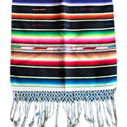 """Mexican dresser scarf, Brilliant colors, excellent condition, 1950s or earlier,  like new  40"""" with fringe x 16"""