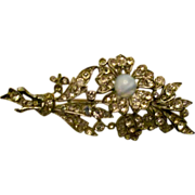 On Sale: Rhinestone floral moonstone pin,  vintage 40s-50s
