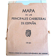 Vintage: Spanish Map: Rare Mapa de Las Principales Carreteras de Espana map of Spain 1951