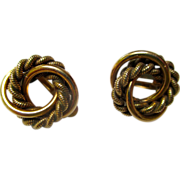 vintage: Earrings: Gold Filled Double Circle: vintage: 1-20-1  12KGF, A.C.