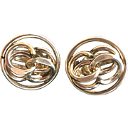 Vintage: Earrings: 12K Gold Filled: Clips: Circle with eights inside: vintage: 50-60s