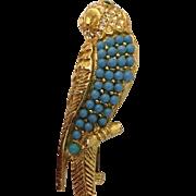 Nettie Rosenstein parrot pin: Turquoise: Diamond Rhinestones: Green rhinestones eyes: gold tone: 1930s-40s: vintage