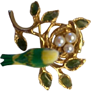 Pin: vintage: bird's nest: three pearl eggs: carved bird: golden branch: eight leaves green stone: hallmarked