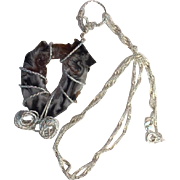 "Artisan Necklace: Slice of a black gray white and copper crystal: geode: wrapped in German wire: fancy twisted 16"" chain: crystals"
