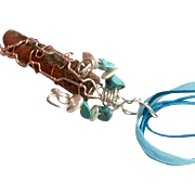 Unakite stone Artisan necklace: Lake Michigan stone: Wrapped in silver and copper: Turquoise and pearls beads: Aqua ribbon necklace: 18 inches