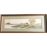 Vintage Autumn River Scene Watercolor painting: Ju Clarke: greens, browns, yellows, purples, blues: Wooden layered frame
