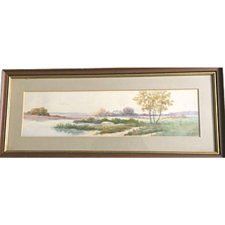 Vintage: Watercolor:  Autumn River Scene painting: Reduced: Ju Clarke: greens, browns, yellows, purples, blues: Wooden layered frame