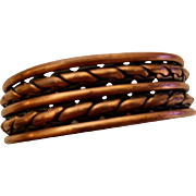 Copper:  large braided cuff bracelet: 50-60s: Native American: 2.5 inches diameter: 1inch opening