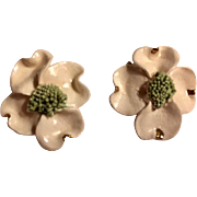 Porcelain Dogwood blossom earrings: Ivory pedals: gold tips: one inch: vintage 50-60s: clip: one inch: