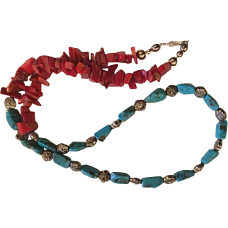 Artisan necklace: Armstorng turquoise 10 mm beads, Red coral chips, Bali Silver flowers, 21 inches