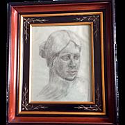 Vintage Original Charcoal Portrait of woman: R.S. Proctor 1962: Toledo Ohio: Eastlake Deep Ebony, Gift, Incised  Frame