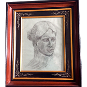 Vintage: Charcoal Portrait of woman: Reduced: R.S. Proctor 1962: Toledo Ohio: Eastlake Deep Ebony, Gift, Incised  Frame