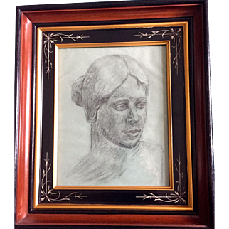 Vintage: Charcoal Portrait of woman: Reduced: R.S. Proctor 1962: Toledo Ohio: Eastlake Deep Ebony, Gift, Incised  Frame