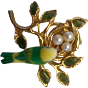 Vintage:  Swoboda Pin:  bird's nest: three pearl eggs: carved bird: golden branch: eight jade leaves: hallmarked