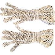 Vintage white handmade crochet summer gloves: floating cuff: 9 inches long: buttoned at wrist