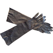 Vintage; Rare long navy opera length leather gloves: 15 inches long:  size 6 1/2:  made in Western Germany: early 50s
