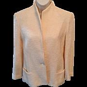 """Vintage: Sports Galore bouclé White Jacket: 70s: size 10"""": one button: classic design"""