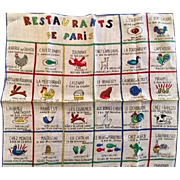 Vintage Paris Scarf: Restaurants De Paris: possibly post WWII: 12 Inches by 13 inches; Rare one of a kind: 40s: pristine
