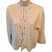 Vintage Adolfo Creamy white embroidered sweater: Hand embroidered: Hong Kong: Angora, lambswool, nylon: early 70s
