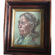 "Charcoal portrait of Native American: Reduced: Ruth S Proctor:1962: Eastlake frame: 2 inches deep"" gilt, ebony and wooden frame"