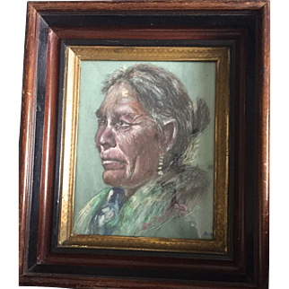 """Vintage: Charcoal portrait of Native American: Reduced: Ruth S Proctor:1962: Eastlake frame: 2 inches deep"""" gilt, ebony and wooden frame"""