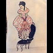 Vintage: Rare Hand Painted silk Hankie: from 30s-40, pristine