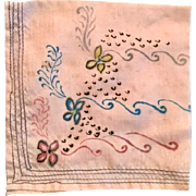 Vintage hand painted silk hankie: 30s-50s: 7.5 inches square: