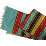 Vintage Roman striped silk taffeta:  from Rome 1962.  48 inches: green, brown, yellow, tan